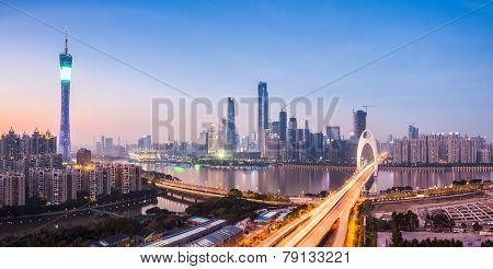 Guangzhou Panorama In Nightfall