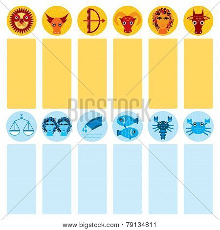 Funny Blue And Orange Zodiac Sign Icon Set Astrological, Vector