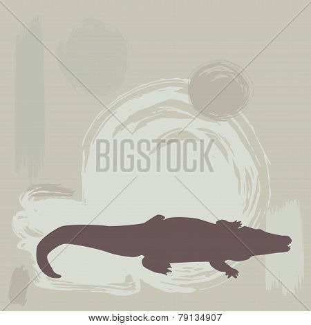 Crocodile Silhouette On Grunge Background. Vector