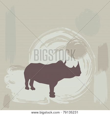 Rhino Silhouette On Grunge Background. Vector