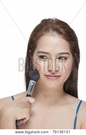 Beauty Young Woman Her Applying Blusher