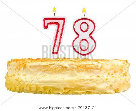 Birthday Cake With Candles Number Seventy Eight