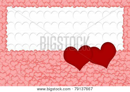 Two Red Hearts On White Background Formed From White Hearts