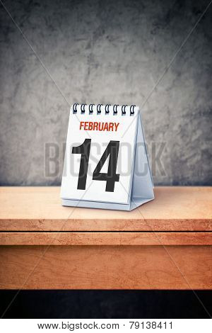 Valentine Day Concept. February 14Th On Desk Calendar At Office Table