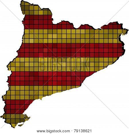 Catalonia map with flag inside