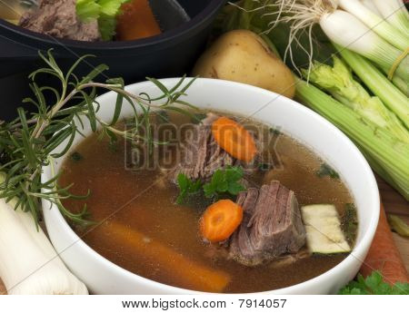 Bowl Soup With Beef And Ingredient