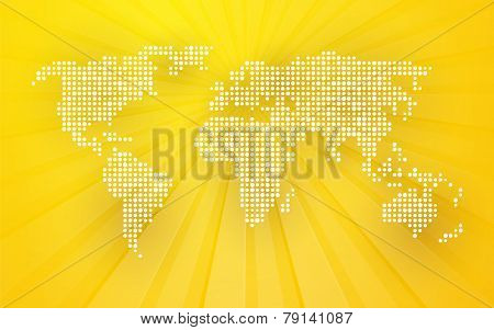Map Of World Composed Of Small White Polka Dots With Rays In The Background