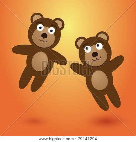 Two Nice Leaping Bears