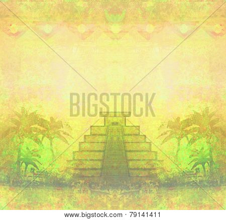 Mayan Pyramid, Chichen-itza, Mexico - Grunge Abstract Background