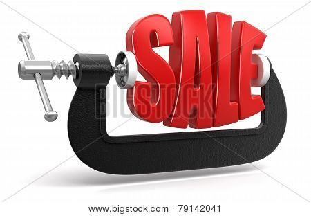 Sale in clamp (clipping path included)