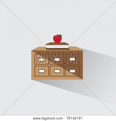 Vector Illustration Library Catalog Of Book And Apple