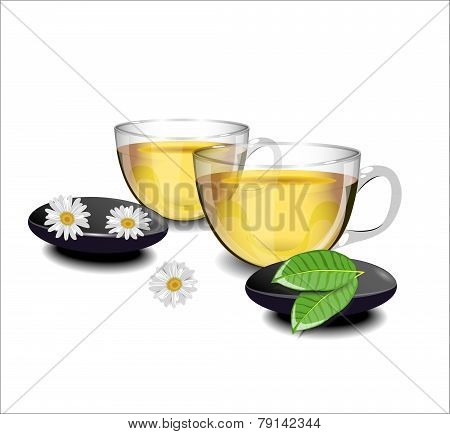 Two Cups Of Green Tea With Chamomile Flowers And Leaves Of Tea In The Foreground