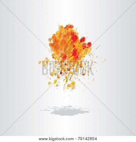 Watercolor Splash Blot With Drops And Splatter