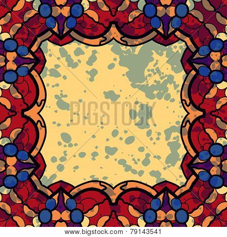 Vector square  frame. Stylized ornate colorful banner design in red and yellow colors