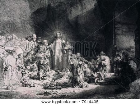 Engraving Of Jesus Christ Preaching