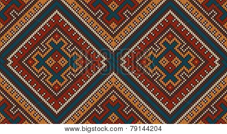 Knitted Wool Pattern In Tribal Aztec Style. Seamless Background
