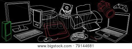 Background With Sketches Of Computer Hardware, Accessories And Peripherals