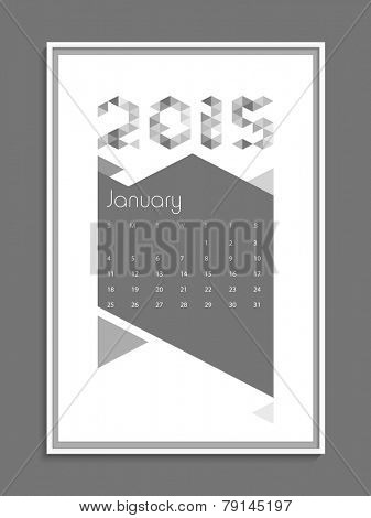 Stylish calendar page of January month for New Year 2015 celebration.