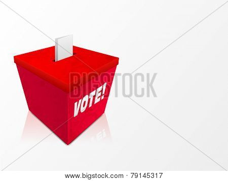 Red ballot box with text Vote for American Presidents Day celebration.