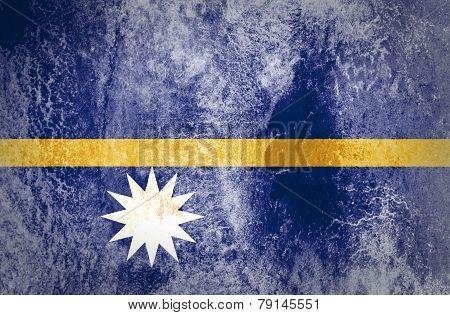 Nauru Flag on grunge paper