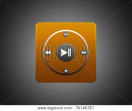 Orange Square Player On Dark Background