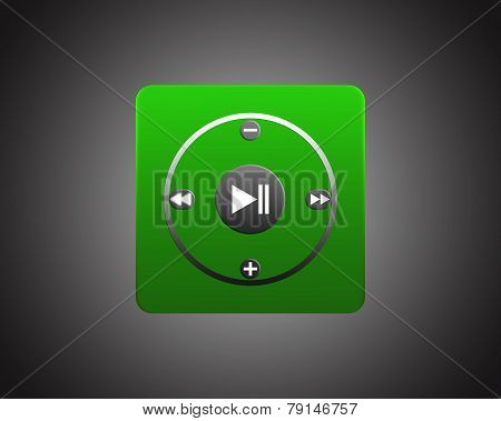 Green Square Player On Dark Background