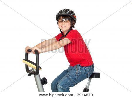 Funny Child Practicing Bike