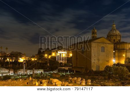 Forum Romanum At Night