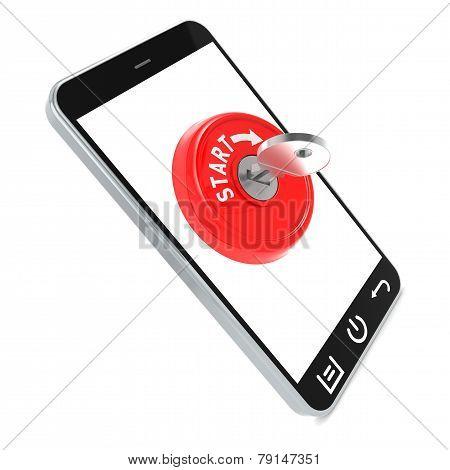 Red Start Key On Smartphone