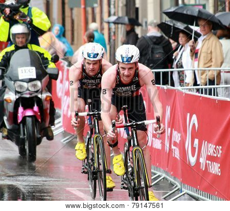 Brownlee Brothers Cycling In The Rain