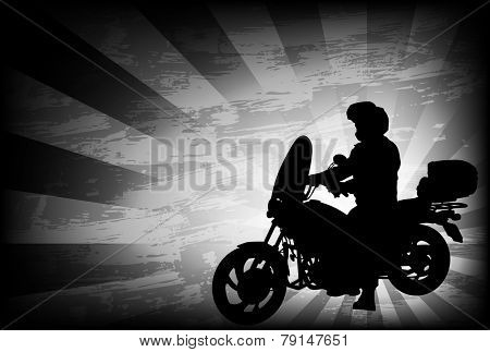 motorcyclist silhouette on the abstract  background