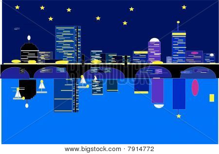vector of boston skyline