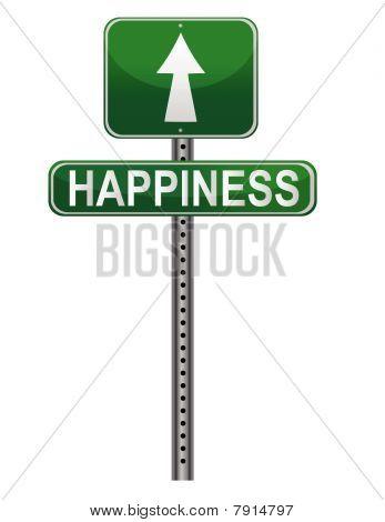 Sinal de rua de felicidade.