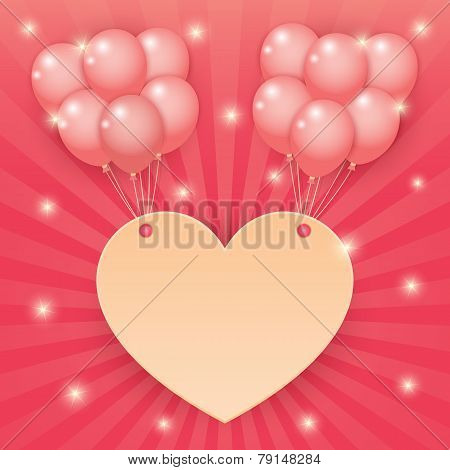 Heart And Balloon On Starburst Background