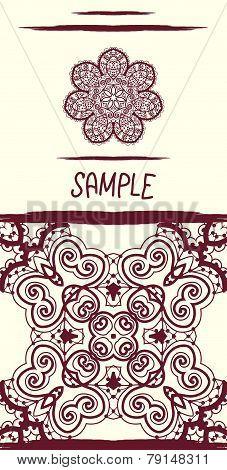 Invitation card in oriental tribal style. Mandala like flower an