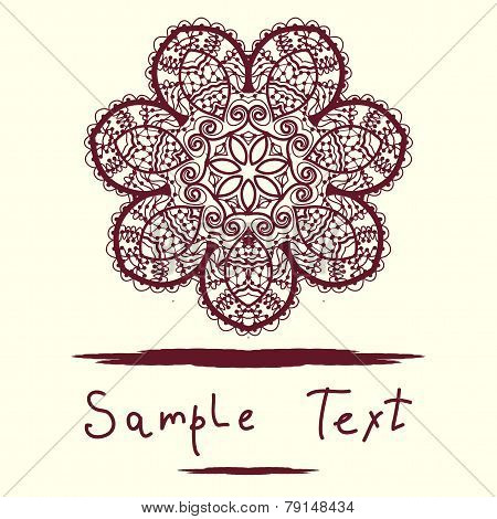 Invitation Card, delicate mandala floral pattern. Vector background. Vintage decorative element. Han