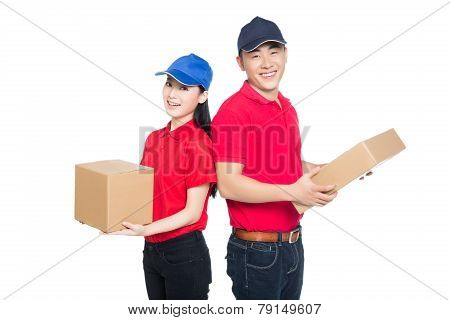 Delivery Mailman Carrying Cardboard Box