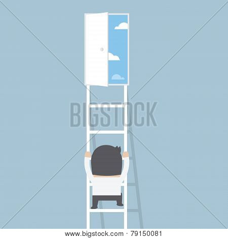 Businessman Climbing Ladder To The Door Of Freedom