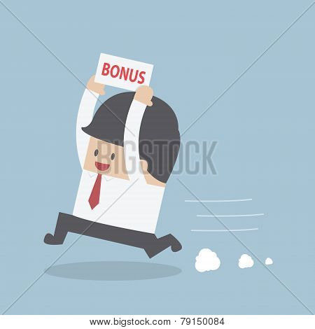 Businessman Is Happy Because He Got Bonus Money