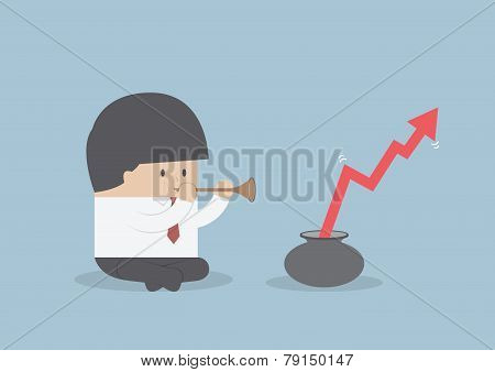 Printbusinessman Playing Pipe  To Mbusinessman Playing Pipe To Make The Graph Growake The Graph Grow