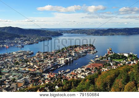 City of bergen seen from Mt. Floyen