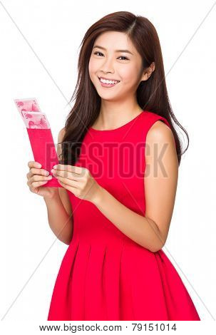 Woman with unwrapped chinese red pocket