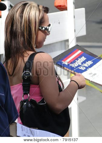 Young Woman Registers New Voters