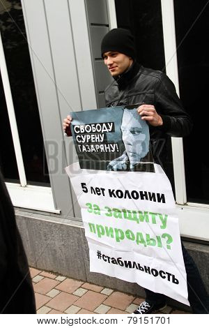The ecological activist on picket in support of the arrested Suren Gazaryan