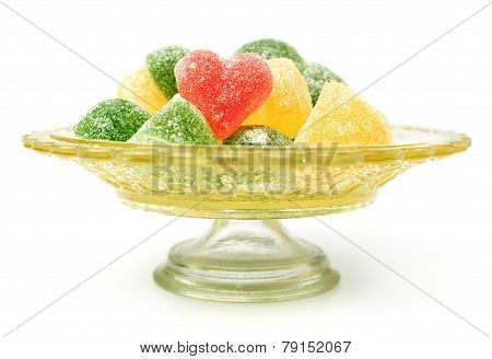 Colorful Jelly Candies In The Shape Of Heart