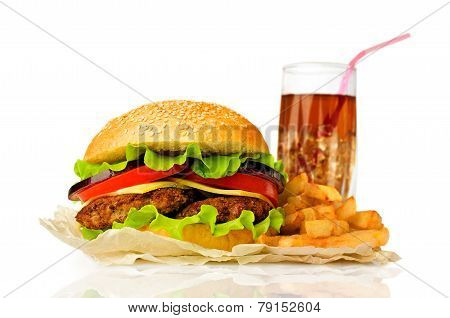Big Hamburger, French Fries  And Cola