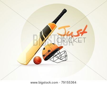 Shiny bat, ball and helmet for Cricket sports concept.