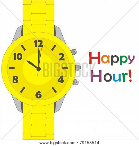 Vector yellow watch on white background