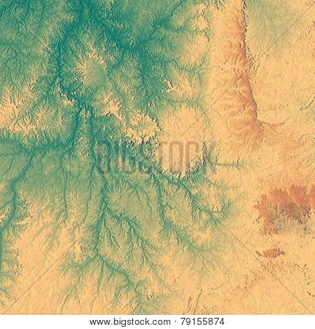Abstract blank grunge background, old texture with stains and different color patterns: cyan; yellow (beige); brown; green