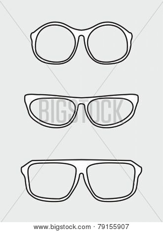 Glasses vector set. Black and white hipster illustration isolated on grey background.
